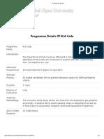 AIOU Programme Detail