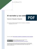 Serrano Orejuela, Eduardo (2016). El Narrador y Sus Saberes