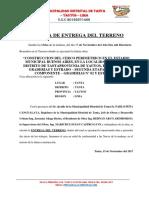 Acta de Recepcion y Entrega de Obra Tramo i