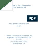 Reflexion - Valores en La Educacion Inicial