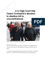 TDs Claim in High Court That Ceann Comhairle's Decision to Disallow Bill is Unconstitutional