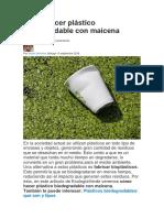 Cómo Hacer Plástico Biodegradable Con Maicena