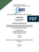 Proyecto(Analizar, Diseñar e Implementar Un Sistema de Inventario )