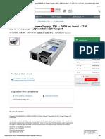 SS-500L1U Active PFC _ Seasonic 500W PC Power Supply, 100 → 240V ac Input, -12 V, 3.3 V, 5 V, 5 Vsb, 12 (Combined) V Output _ RS Components
