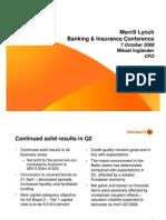 Roadshow, Merrill Lynch Banking & Insurance Conference, London
