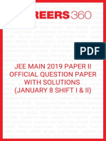 JEE Main 2019 Official Question Paper Solutions Paper 2 January 8