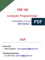 CSE 142 Computer Programming