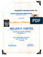 MELJUN CORTES 1999 Certificate JAVA Programming and the NET