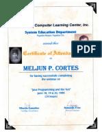 MELJUN CORTES 1999 Certificate JAVA Programming and the NET