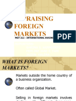Mgt 212 Appraising Foreign Markets