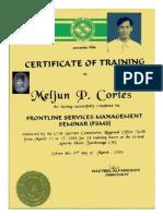 MELJUN CORTES 2000 Certificate FSMS Civil Service Commission