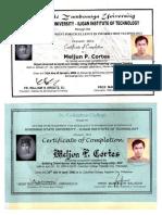 MELJUN CORTES 2003 Certificate ADZU SCC OOAD UML Postgre SQL PHP Training