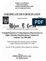 MELJUN CORTES 2004 Certificate Trainings Orientation of College Registrar Data Encoder
