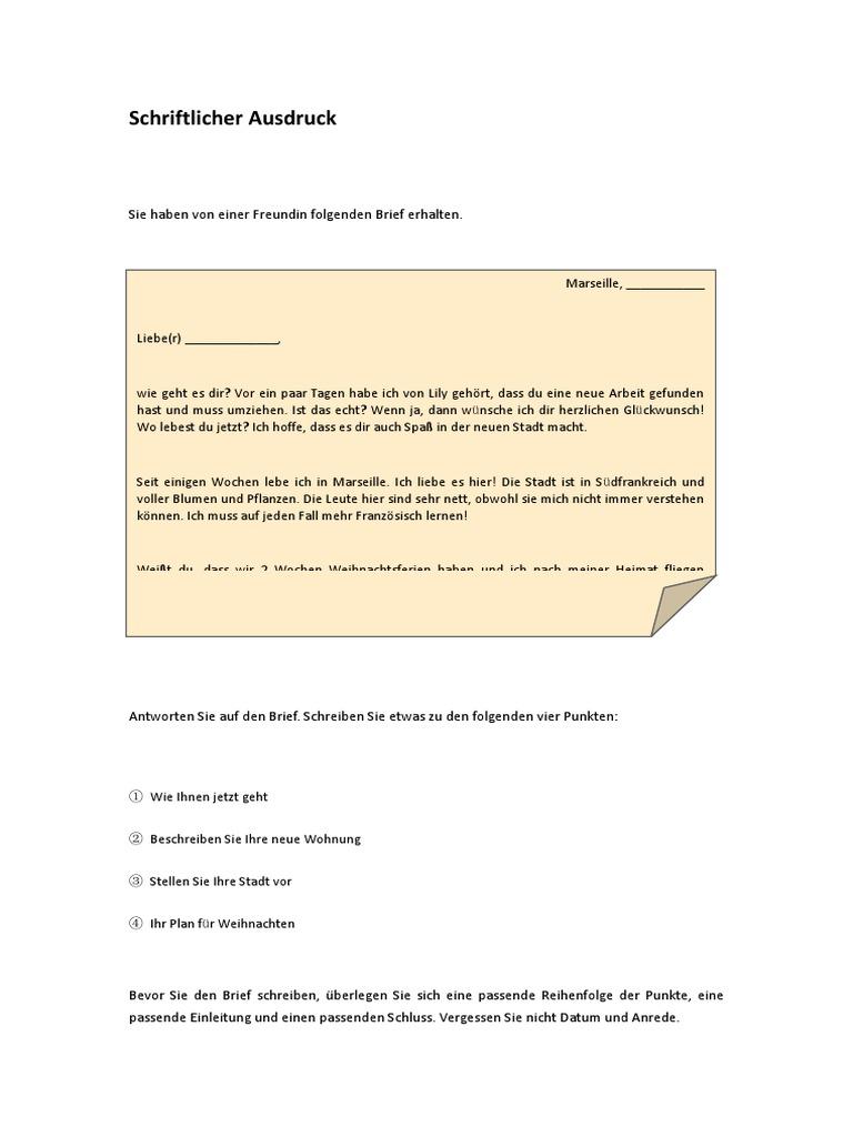 Schreiben freund brief für Brief Schreiben