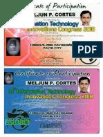 MELJUN CORTES 2018 EGLOBIO Innovation Congress NO SQL Digital Forensics Certificate