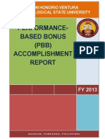 DHVTSU PBB Accomplishment Report FY 2013