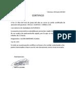 Certificado de Salud CAMILO