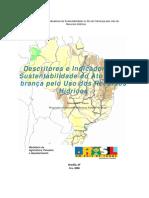 Descritores e indicvadores de sustentabilidade do ato de cobrança pelo uso dos recursos hídricoDescritores Indicador Sustentab Cobranca