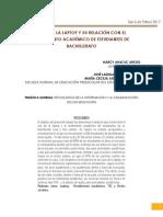 USOS DE LA LAPTOP Y SU RELACIÓN CON EL RENDIMIENTO ACADÉMICO DE ESTUDIANTES DE BACHILLERATO