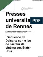 L'Acteur de Cinéma_ Approches Plurielles - L'Influence de Delsarte Sur Le Jeu de l'Acteur de Cinéma Aux Etats-Unis - Presses Universitaires de Rennes