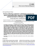 Factores Affecting Custommers' Satisfaction Towards the Use of Automated Teller Machines (ATMS)