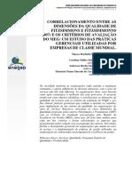CORRELACIONAMENTO ENTRE AS  DIMENSÕES DA QUALIDADE DE  FITZSIMMONS E FITZSIMMONNS  (2007) E OS CRITÉRIOS DE AVALIAÇÃO  DO MEG