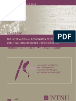 The International Recognition of Studies and Qualifications in Higher Music Education