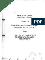 Mugabe & Tsvangirai- memorandum of agreement