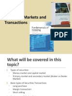 Topic 2 Securities Markets and Transactions