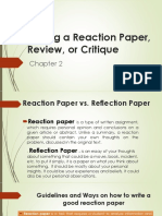 Writing a Reaction Paper, Review, Or