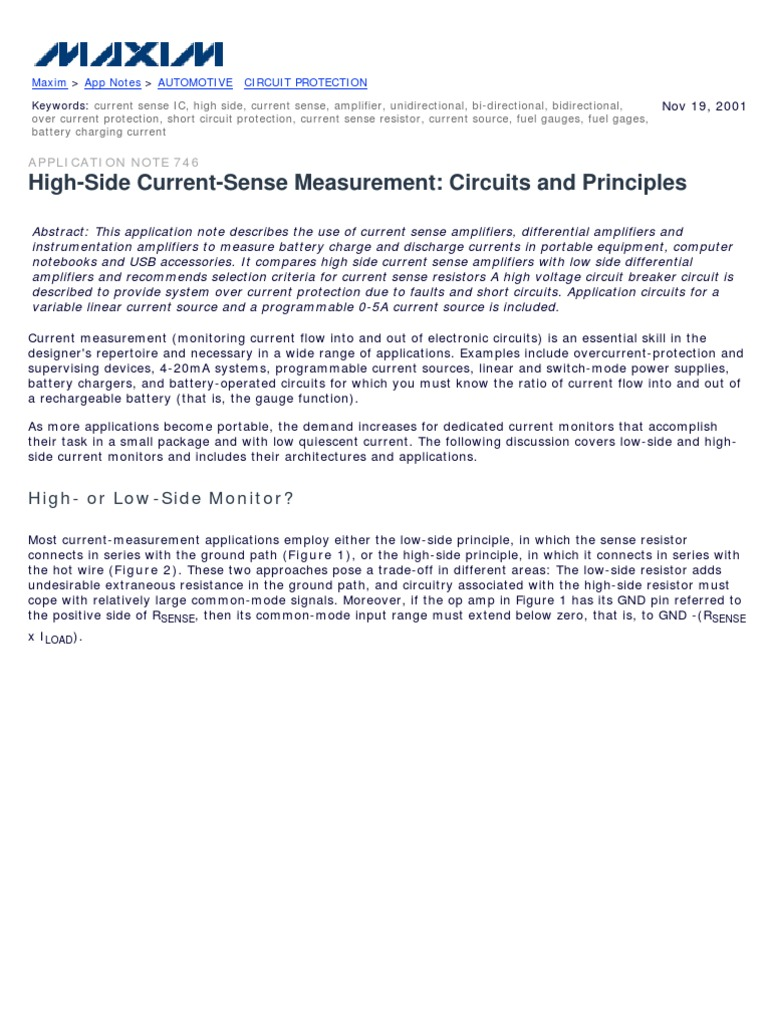 an746 high side current sense measurement circuits and principles
