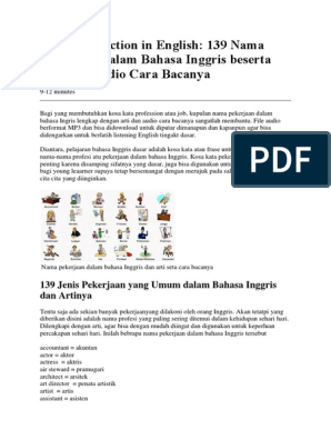 139 Nama Pekerjaan Dalam Bahasa Inggris Beserta Arti Dan Audio Cara Bacanya