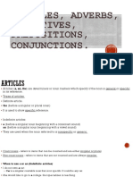 Articles, Adv. Adj. Preposition, Conjunction