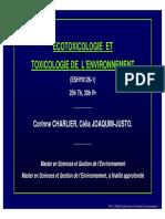 Ecotoxicologie Et Toxicologie de Lenvironnement