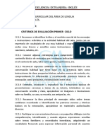 Criterios Ev. Inglés Primer Ciclo
