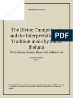 The Divine Omnipotence and the Interpretation of a Tradition made by Mirza Jhelumi