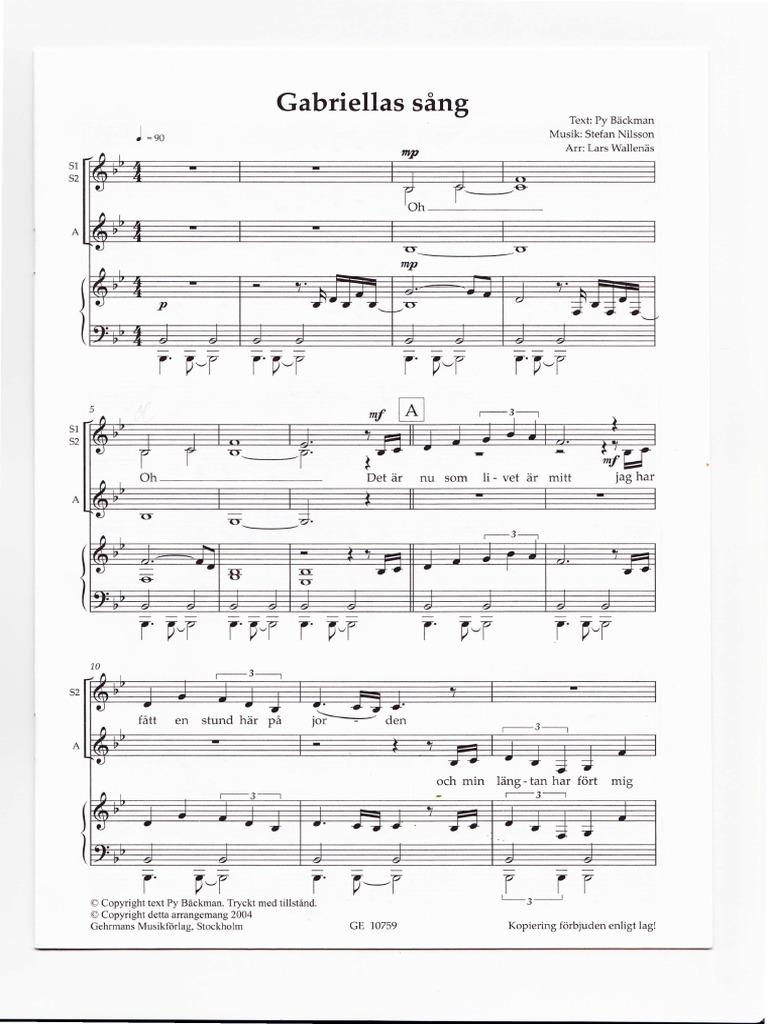 Gabriellas sång noter pdf