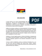 Decalaración Frente Amplio - 23 de Noviembre de 2019
