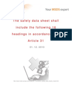 The Safety Data Sheet Shall Include the Following 16 Headings in Accordance With Article 31 - 01.12.2010