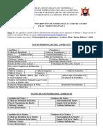 """2. Planilla de Preinscripción de Aspirantes Plan """"Simón Bolívar"""""""