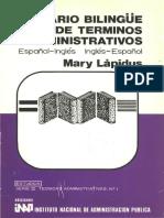 Glosario Bilingüe de Términos Administrativos. Español-Inglés, Inglés-Español.