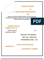 Term Paper Brand Extention Opportunities and Exploration Including Markrting Program and Its Effect on Parent Brand Equity of Garniers