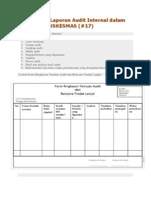 Sistematika Laporan Audit Internal Dalam Akreditasi Puskesmas 17