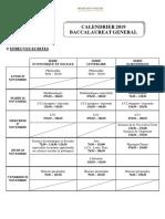 Calendrier indicatif pour le bac général 2019