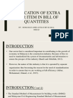Application of Extra Over in Bill of Quantities