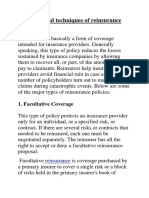 Types and Techniques of Reinsurance