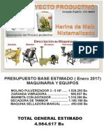 PROYECTO PRODUCTIVO HARINA DE MAÍZ NIXTAMALIZADO