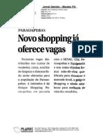 UNIQUE SHOPPING PARAUAPEBAS OFERECE VAGAS