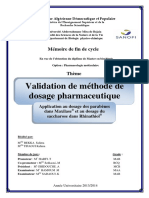 Validation de Methode de Dosage Pharmaceutique...