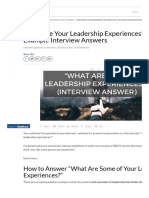 _Describe Your Leadership Experiences_ Example Interview Answers - Career Sidekick